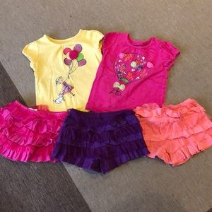 Lot of girls mix and match skorts and t-shirts